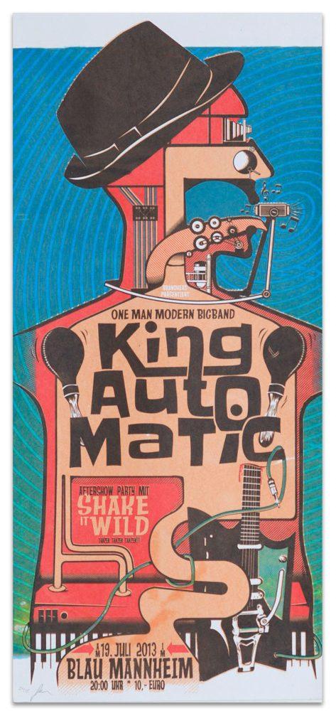 Gigposter: King Automatic – Blau Mannheim