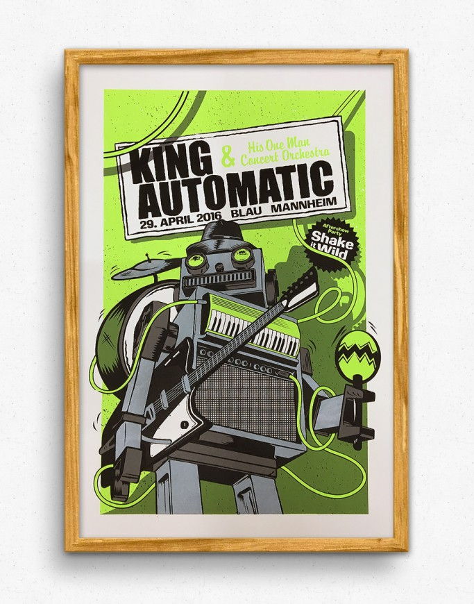 King Automatic in Mannheim Gigposter - Green Version
