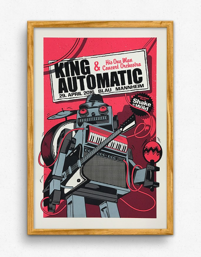 King Automatic in Mannheim Gigposter - Pink Version
